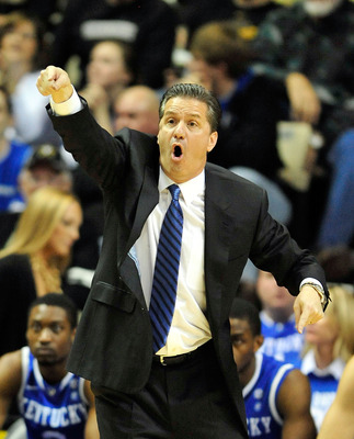 NASHVILLE, TN - FEBRUARY 12:  Coach John Calipari of the Kentucky Wildcats reacts during an 81-77 loss to the Vanderbilt Commodores at Memorial Gym on February 12, 2011 in Nashville, Tennessee.  (Photo by Grant Halverson/Getty Images)