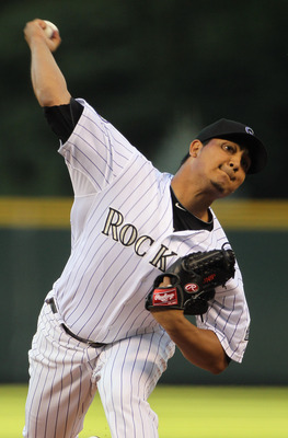 DENVER - SEPTEMBER 24:  Starting pitcher Jhoulys Chacin #45 of the Colorado Rockies delivers against the San Francisco Giants at Coors Field on September 24, 2010 in Denver, Colorado.  (Photo by Doug Pensinger/Getty Images)