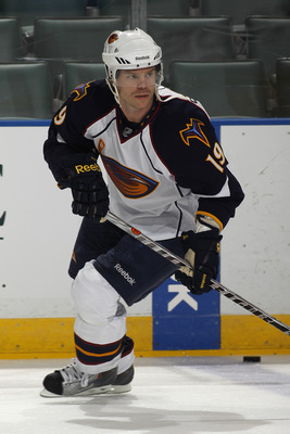 SUNRISE, FL - JANUARY 5: Fredrik Modin #19 of the Atlanta Thrashers skates prior to the game against the Florida Panthers on January 5, 2011 at the BankAtlantic Center in Sunrise, Florida.  (Photo by Joel Auerbach/Getty Images)