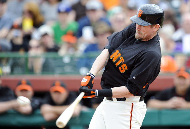 SCOTTSDALE, AZ - FEBRUARY 26: Aubrey Huff #17 of the San Francisco Giants bats during a spring training game at against the Los Angeles Dodgers at Scottsdale Stadium on February 26, 2011 in Scottsdale, Arizona. (Photo by Rob Tringali/Getty Images)