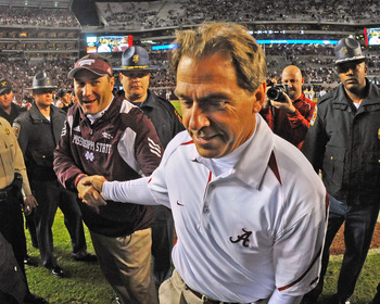 """Hey, Coach Saban; can you gimme some pointers?"""