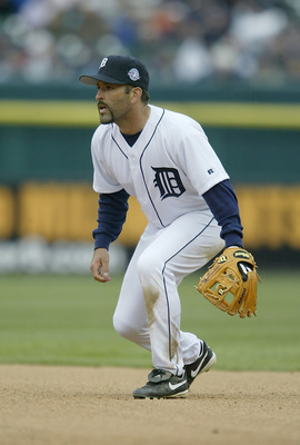 DETROIT - APRIL 8:  Fernando Vina #10 of the Detroit Tigers crouches into his defensive position on  during the game against the Minnesota Twins on opening day at Comerica Park on April 8, 2004 in Detroit, Michigan.  The Tigers won 10-6. (Photo by Tom Pid