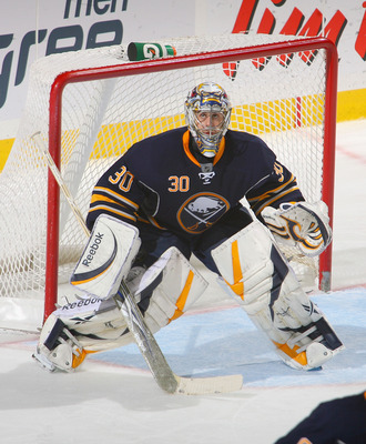 BUFFALO, NY - NOVEMBER 15:  Ryan Miller #30 of the Buffalo Sabres stands in goal against the Vancouver Canucks at HSBC Arena on November 15, 2010 in Buffalo, New York.Buffalo won 4-3 in overtime.  (Photo by Rick Stewart/Getty Images)