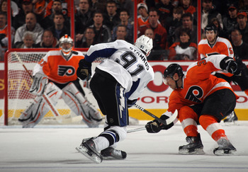 PHILADELPHIA - NOVEMBER 18:  Steven Stamkos #91 of the Tampa Bay Lightning skates against the Philadelphia Flyers at the Wells Fargo Center on November 18, 2010 in Philadelphia, Pennsylvania. The Lightning defeated the Flyers 8-7.  (Photo by Bruce Bennett