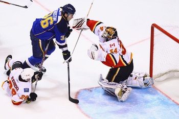 ST. LOUIS, MO - MARCH 1: Miikka Kiprusoff #34 of the Calgary Flames makes a save against Matt D'Agostini #36 of the St. Louis Blues at the Scottrade Center on March 1, 2011 in St. Louis, Missouri.  (Photo by Dilip Vishwanat/Getty Images)