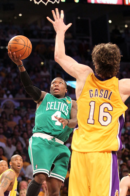 LOS ANGELES, CA - JUNE 17:  Nate Robinson #4 of the Boston Celtics goes up for a shot against Pau Gasol #16 of the Los Angeles Lakers in Game Seven of the 2010 NBA Finals at Staples Center on June 17, 2010 in Los Angeles, California.  NOTE TO USER: User e
