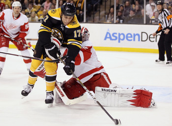 BOSTON, MA - FEBRUARY 11:  Milan Lucic #17 of the Boston Bruins tries to get one past Jimmy Howard #35 of the Detroit Red Wings on February 11, 2011 at the TD Garden in Boston, Massachusetts.  (Photo by Elsa/Getty Images)