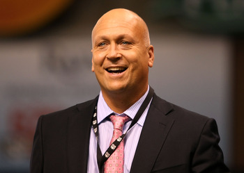 ST PETERSBURG, FL - OCTOBER 18:  Television personality Cal Ripken Jr. walks on the field before game six of the American League Championship Series between the Boston Red Sox and the Tampa Bay Rays during the 2008 MLB playoffs on October 18, 2008 at Trop