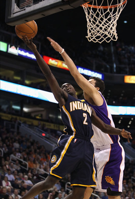 PHOENIX - DECEMBER 03:  Darren Collison #2 of the Indiana Pacers drives to the basket against the Phoenix Suns during the NBA game at US Airways Center on December 3, 2010 in Phoenix, Arizona. NOTE TO USER: User expressly acknowledges and agrees that, by