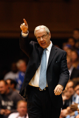 DURHAM, NC - FEBRUARY 09:  Head coach Roy Williams of the North Carolina Tar Heels yells to his team against the Duke Blue Devils during their game at Cameron Indoor Stadium on February 9, 2011 in Durham, North Carolina.  (Photo by Streeter Lecka/Getty Im