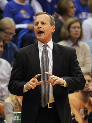 LAWRENCE, KS - JANUARY 22:  Head coach Rick Barnes of the Texas Longhorns motions from the bench during the game against the Kansas Jayhawks on January 22, 2011 at Allen Fieldhouse in Lawrence, Kansas.  (Photo by Jamie Squire/Getty Images)