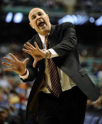GREENSBORO, NC - MARCH 12:  Seth Greenberg, head coach of the Virginia Tech Hokies gestures on the sidelines against the University of Miami Hurricanes in their quarterfinal game in the 2010 ACC Men's Basketball Tournament at the Greensboro Coliseum on Ma