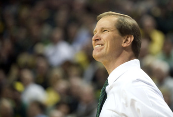 EUGENE, OR - JANUARY 13: Head coach Dana Altman of the Oregon Ducks winces as his team misses a shot during the second half of the game against the USC Trojans at Matthew Knight Arena on January 13, 2011 in Eugene, Oregon. Oregon won the game 68-62. The a