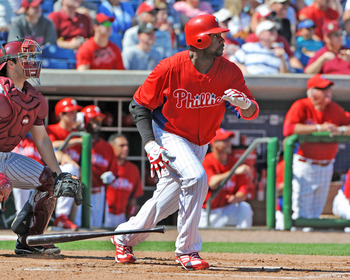 CLEARWATER, FL - FEBRUARY 24:  Infielder Ryan Howard #6 of the Philadelphia Phillies bats against the Florida State Seminoles February 24, 2011 at Bright House Field in Clearwater, Florida.  (Photo by Al Messerschmidt/Getty Images)