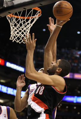 PHOENIX, AZ - JANUARY 14:  Nicolas Batum #88 of the Portland Trail Blazers puts up a shot against the Phoenix Suns during the NBA game at US Airways Center on January 14, 2011 in Phoenix, Arizona.  NOTE TO USER: User expressly acknowledges and agrees that