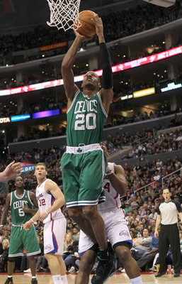 LOS ANGELES, CA - FEBRUARY 26:  Ray Allen #20 of the Boston Celtics shoots against the Los Angeles Clippers at Staples Center on February 26, 2011  in Los Angeles, California.  The Celtics won 99-92.   NOTE TO USER: User expressly acknowledges and agrees