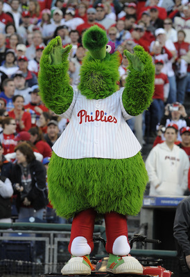 PHILADELPHIA, PA - OCTOBER 31: The Phillie Phanatic celebrates at a victory rally at Citizens Bank Park October 31, 2008 in Philadelphia, Pennsylvania. The Phillies defeated the Tampa Bay  Rays to win their first World Series in 28 years. (Photo by Jeff F