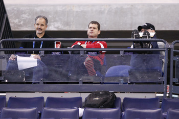 INDIANAPOLIS, IN - MARCH 1: San Francisco 49ers head coach Jim Harbaugh looks on during the 2011 NFL Scouting Combine at Lucas Oil Stadium on February 28, 2011 in Indianapolis, Indiana. (Photo by Joe Robbins/Getty Images)