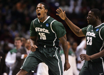 SPOKANE, WA - MARCH 21:  Durrell Summers #15 of the Michigan State Spartans celebrates making a three point shot with  teammate Draymond Green #23 against the Maryland Terrapins during the second round of the 2010 NCAA men's basketball tournament at Spoka