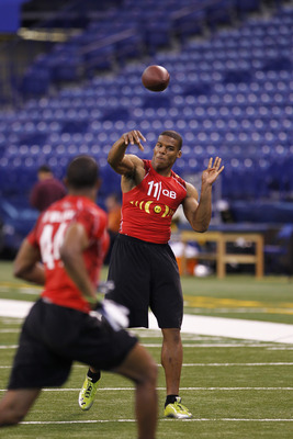 INDIANAPOLIS, IN - FEBRUARY 27:  Cam Newton passes the ball during a drill at the 2011 NFL Scouting Combine at Lucas Oil Stadium on February 27, 2011 in Indianapolis, Indiana. (Photo by Joe Robbins/Getty Images)