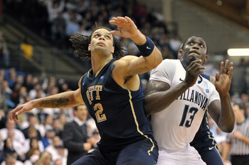 VILLANOVA, PA - FEBRUARY 12: Gary McGhee #52 of the Pittsburgh Panthers blocks out Mouphtaou Yarou #13 of the Villanova Wildcats at The Pavilion on February 12, 2011 in Villanova, Pennsylvania. Pittsburgh won 57-54.  (Photo by Drew Hallowell/Getty Images)