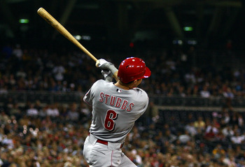 SAN DIEGO, CA - SEPTEMBER 24:  Drew Stubbs #6 of Cincinnati Reds hits a solo home run against the San Diego Padres during the second inning of their MLB game on September 24, 2010 at PETCO Park in San Diego, California. (Photo by Donald Miralle/Getty Imag