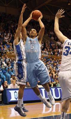 DURHAM, NC - FEBRUARY 09:  Kendall Marshall #5 of the North Carolina Tar Heels against the Duke Blue Devils during their game at Cameron Indoor Stadium on February 9, 2011 in Durham, North Carolina.  (Photo by Streeter Lecka/Getty Images)