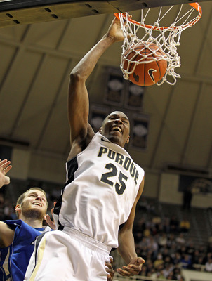 WEST LAFAYETTE, IN - DECEMBER 21:  JaJuan Johnson #25 of the Purdue Boilermakers shoots the ball during the game against the IPFW Mastodons at Mackey Arena on December 21, 2010 in West Lafayette, Indiana.  (Photo by Andy Lyons/Getty Images)