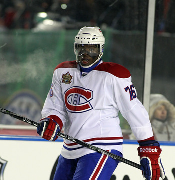CALGARY, AB - FEBRUARY 20:  P.K. Subban #76 of the Montreal Canadiens skates against the Calgary Flames during the 2011 NHL Heritage Classic Game at McMahon Stadium on February 20, 2011 in Calgary, Alberta, Canada. The Flames defeated the Canadiens 4-0.