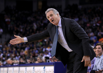 OAKLAND, CA - JANUARY 21:  Head coach Paul Westphal of the Sacramento Kings argues a call during their game against the Golden State Warriors at Oracle Arena on January 21, 2011 in Oakland, California. NOTE TO USER: User expressly acknowledges and agrees