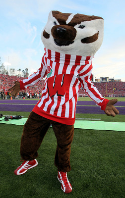 PASADENA, CA - JANUARY 01:  Bucky Badger of the Wisconsin Badgers looks on during the game against the TCU Horned Frogs in the 97th Rose Bowl game on January 1, 2011 in Pasadena, California.  (Photo by Stephen Dunn/Getty Images)