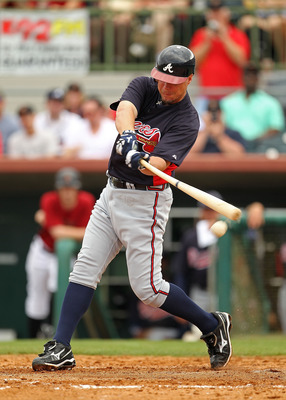 KISSIMMEE, FL - MARCH 01: Chipper Jones #10 of the Atlanta Braves bats during a Spring Training game against the Houston Astros at Osceola County Stadium on March 1, 2011 in Kissimmee, Florida.  (Photo by Mike Ehrmann/Getty Images)