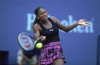 4 Sep 2000:  Serena Williams of the US returns the volley against Jelena Dokic of Australia during the US Open at the USTA National Tennis Center in Flushing Meadows, New York.  Serena Williams defeated Jelena Dokic 7-6, 6-0.Mandatory Credit: Jamie Squire