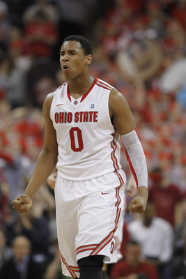 COLUMBUS, OH - FEBRUARY 15:  Jared Sullinger #0 of the Ohio State Buckeyes reacts while playing the Michigan State Spartans on February 15, 2011 at Value City Arena in Columbus, Ohio.  (Photo by Gregory Shamus/Getty Images)