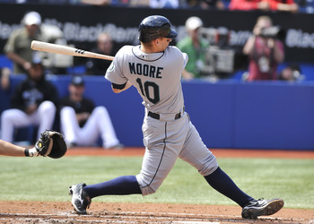 TORONTO - SEPTEMBER 23:   Adam Moore #10 of the Seattle Mariners bats against the Toronto Blue Jays during the game on September 23, 2010 at Rogers Centre in Toronto, Ontario, Canada. The Blue Jays defeated the Mariners 1-0. (Photo by Brad White/Getty Ima