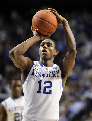 LEXINGTON, KY - MARCH 01: Brandon Knight #12 of the Kentucky Wildcats shoots the ball during the SEC game against the Vanderbilt Commodores at Rupp Arena on March 1, 2011 in Lexington, Kentucky.  Kentucky won 68-66.  (Photo by Andy Lyons/Getty Images)