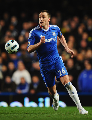 LONDON, ENGLAND - MARCH 01:  John Terry of Chelsea in action during the Barclays Premier League match between Chelsea and Manchester United at Stamford Bridge on March 1, 2011 in London, England.  (Photo by Clive Mason/Getty Images)