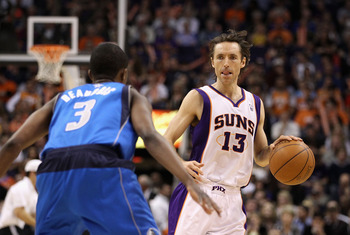 PHOENIX, AZ - FEBRUARY 17:  Steve Nash #13 of the Phoenix Suns during the NBA game against the Dallas Mavericks at US Airways Center on February 17, 2011 in Phoenix, Arizona.  The Mavericks defeated the Suns 112-106.  NOTE TO USER: User expressly acknowle