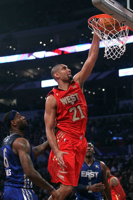 LOS ANGELES, CA - FEBRUARY 20:  Tim Duncan #21 of the San Antonio Spurs and the Western Conference dunks the ball in the first quarter of the 2011 NBA All-Star Game at Staples Center on February 20, 2011 in Los Angeles, California. NOTE TO USER: User expr