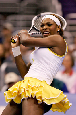 LOS ANGELES - NOVEMBER 15:  Serena Williams follows through on a shot to Maria Sharapova of Russia in the finals of the WTA Tour Championship Tournament at Staples Center on November 15, 2004 in Los Angeles, California.  Sharapova won 4-6, 6-2, 6-4.  (Pho