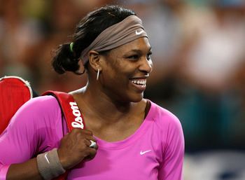 PERTH, AUSTRALIA - DECEMBER 31:  Serena Williams of the USA smiles following the Group B match between the USA and the Czech Republic on day three of the Hyundai Hopman Cup at Burswood Entertainment Complex on December 31, 2007 in Perth, Australia.  (Phot
