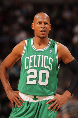 DENVER, CO - FEBRUARY 24:  Ray Allen #20 of the Boston Celtics looks on against the Denver Nuggets during NBA action at the Pepsi Center on February 24, 2011 in Denver, Colorado. The Nuggets defeated the Celtics 89-75. NOTE TO USER: User expressly acknowl