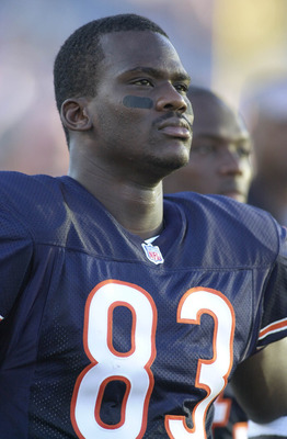 04 Aug 2001:   David Terrell #83 of the Chicago Bears observes the game against the Cincinnati Bengals during the NFL pre-season game at Soldier Field in Chicago, IL. The Bears defeated the Bengals 16-13 in overtime. DIGITAL IMAGE Mandatory Credit: Jonath