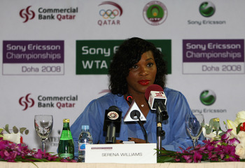 DOHA, QATAR - NOVEMBER 03:  Serena Williams of the USA attends the press conference for the Sony Ericsson Championships at the Ritz Carlton Hotel on November 3, 2008 in Doha, Qatar. The Championshipsfrom 4th to 9th November and is the season finale to the