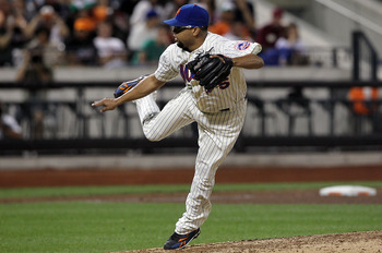 NEW YORK - AUGUST 14:  Francisco Rodriguez #75 of the New York Mets delivers a pitch in the ninth inning against the Philadelphia Phillies on August 14, 2010 at Citi Field in the Flushing neighborhood of the Queens borough of New York City. The Phillies d