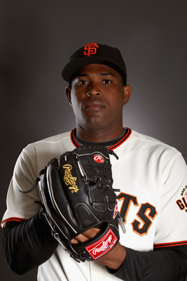 SCOTTSDALE, AZ - FEBRUARY 23:  Santiago Casilla #46 of the San Francisco Giants poses for a portrait during media photo day at Scottsdale Stadium on February 23, 2011 in Scottsdale, Arizona.  (Photo by Ezra Shaw/Getty Images)