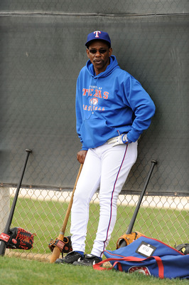 SURPRISE, AZ - FEBRUARY 18:  Manager Ron Washington of the Texas Rangers watches his team participate in drills at Surprise Stadium on February 18, 2011 in Surprise, Arizona.  (Photo by Norm Hall/Getty Images)