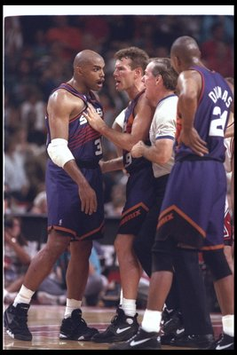 18 Jun 1993:  Forward Charles Barkley of the Phoenix Suns yells during a game against the Chicago Bulls at the United Center in Chicago, Illinois.  The Suns won the game, 108-98. Mandatory Credit: Jonathan Daniel  /Allsport Mandatory Credit: Jonathan Dani