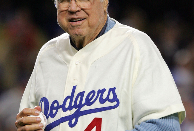 LOS ANGELES, CA - OCTOBER 04:  Former Los Angeles Dodgers great Duke Snider throws out the first pitch before the Dodgers take on the Chicago Cubs in Game Three of the NLDS during the 2008 MLB playoffs on October 4, 2008 at Dodger Stadium in Los Angeles,