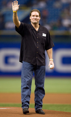 ST. PETERSBURG, FL - SEPTEMBER 17: Hall of Fame player Wade Boggs, formerly of the Tampa Bay Rays and the Boston Red Sox, throws out the first pitch prior to the game against the Boston Red Sox at Tropicana Field September 17, 2008 in St. Petersburg, Flor